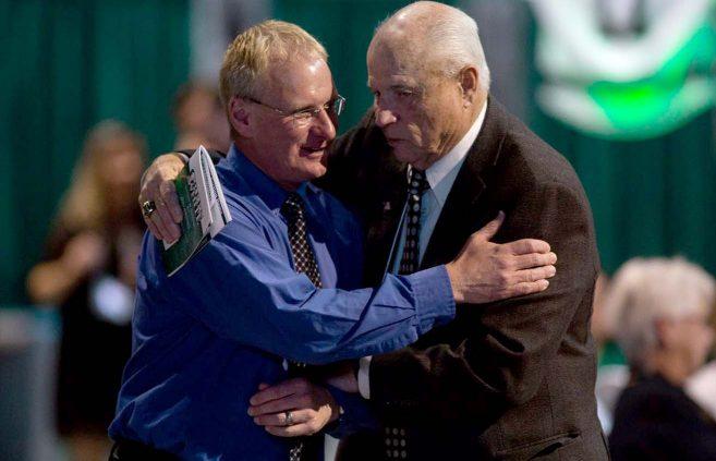 Associate Head Football Coach Rich Jahner, left, and Joe Dunn.