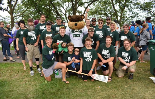 Bemidji State's 2018 Beaver Fever team before the Parade of Teams