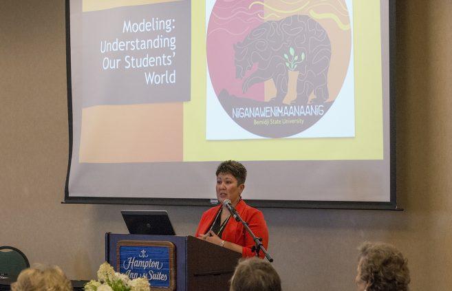 Dr. Misty Wilkie, associate professor of nursing at BSU, provided a keynote address on the university's Niganawenimaanaanig program