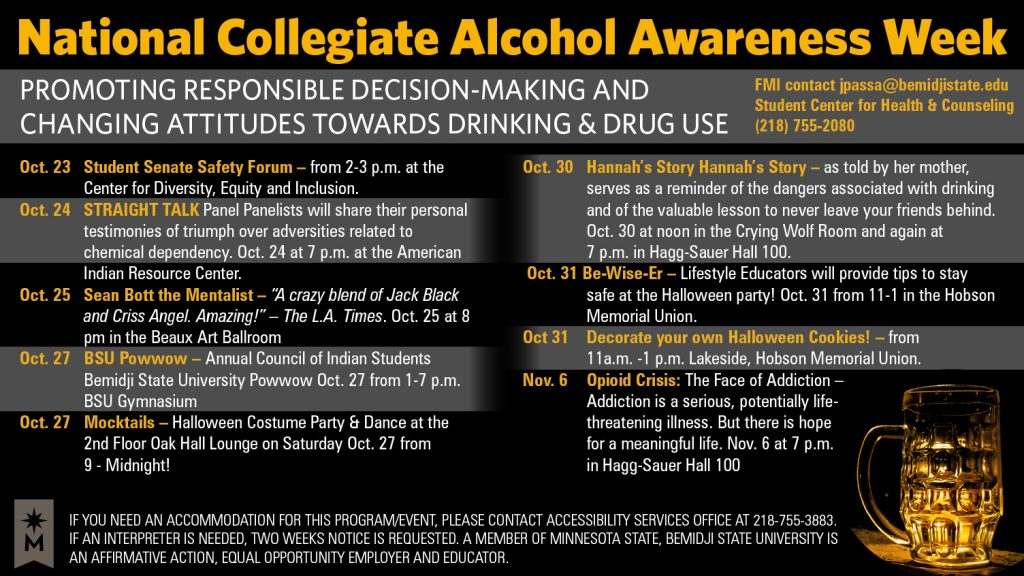 National Collegiate Alcohol Awareness Week schedule of events