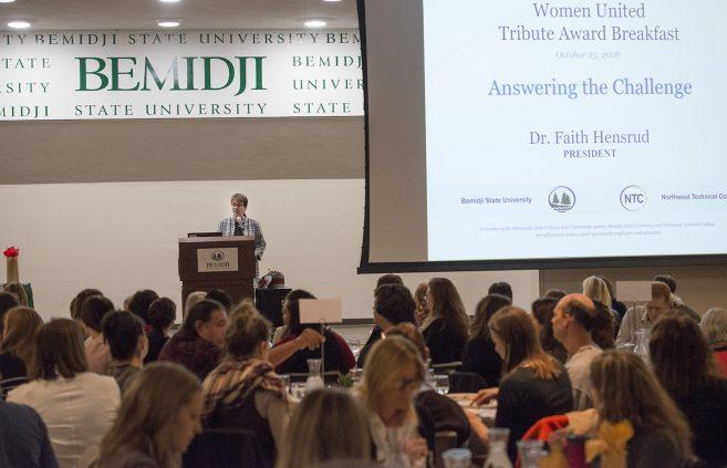 Bemidji State President Faith Hensrud, keynote speaker at the Women United Tribute Award breakfast.