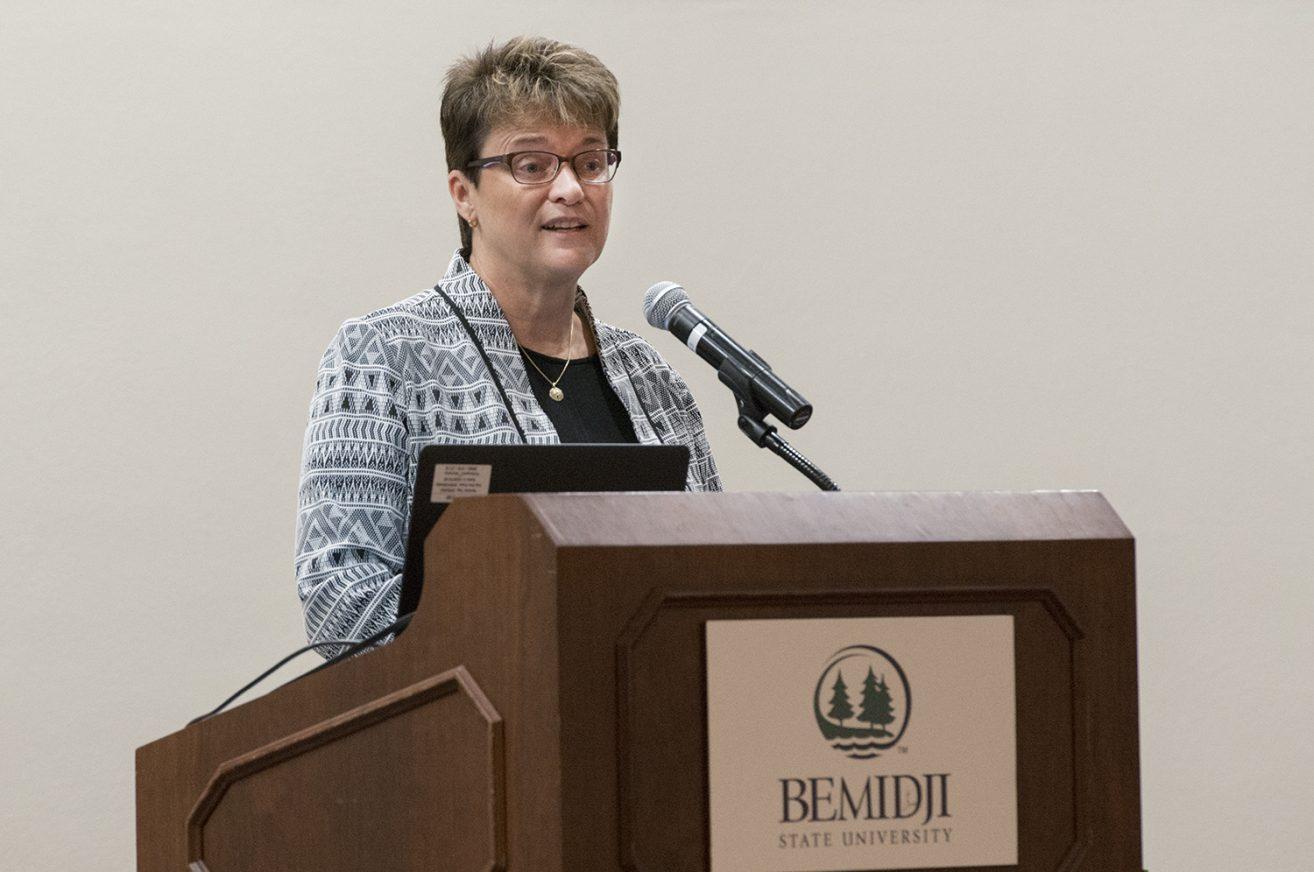 Bemidji State President Faith Hensrud was the Women United Tribute Award breakfast keynote speaker.