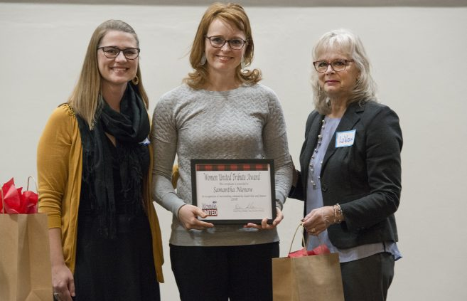 Samantha Nienow, owner and presentation designer at Red Zest Design, received a Women United Tribute Award in recognition of outstanding community leadership and impact.