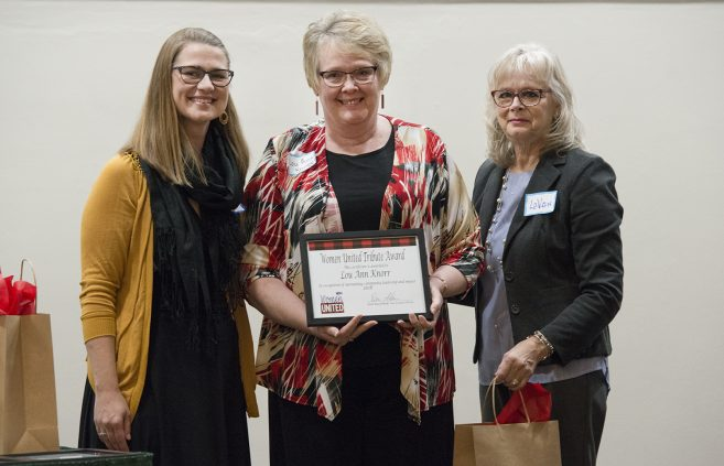 Lou Ann Knorr received a Women United Tribute Award in recognition of outstanding community leadership and impact.
