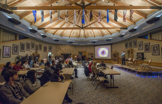 International Student Organization annual festival of lights, panorama of gathering room.
