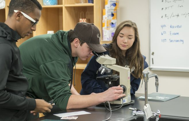 Students looking through microscope
