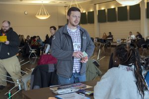 Assistance services and shelters were set up throughout the poverty simulation room.