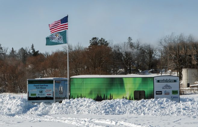 Bemidji State University's Fossil Fuel-Free Fish House and Hardwater Ice Lab provided shelter at the event.