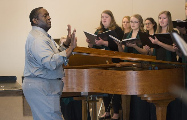 "Dr. Jesse Grant, Associate Vice President of Student Life and Success, led the Bemidji Choir in ""Life Every Voice and Sing."""