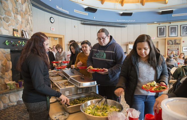Students, faculty and staff gather in BSU's American Indian Resource Center for the Spring 2019 day of welcome.