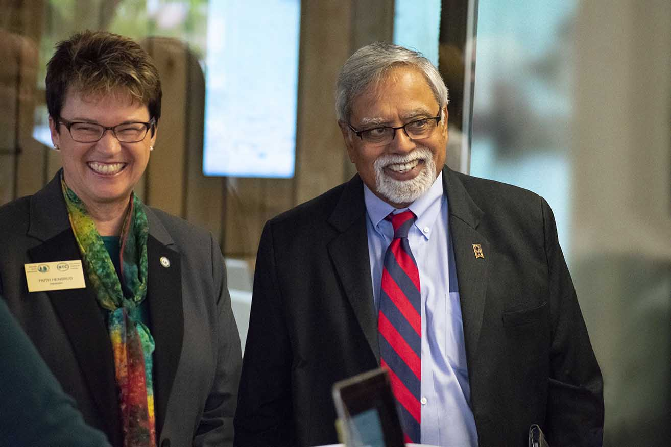 President Hensrud joined Chancellor Malhotra at his Oct. 5 Partnership Tour stop at Bemidji's Mayflower Building.