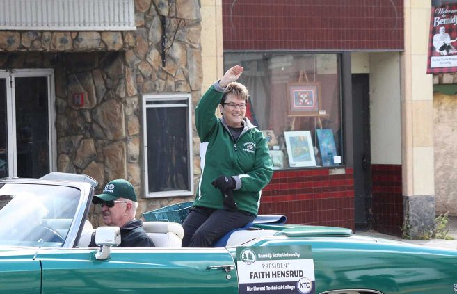 President Faith Hensrud in the 2018 Homecoming Parade.