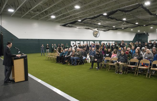 Attendees at the ceremony for the unveiling of the newly renovated Frederick P. Baker Training Center.