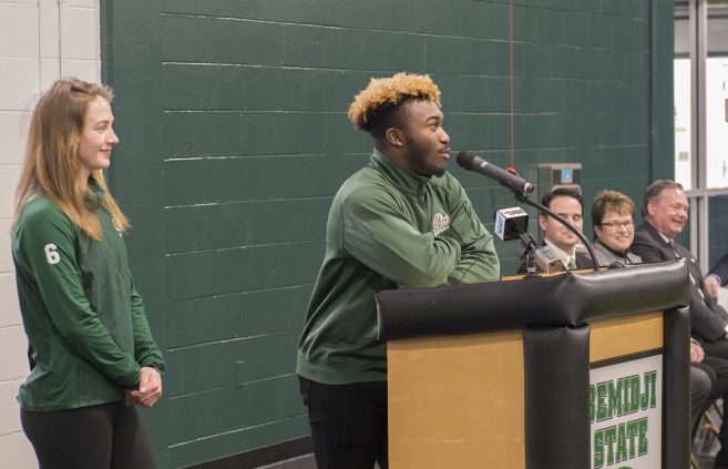 Student athlete speaking at the ceremony for the unveiling of the renovated Frederick P. Baker Training Center.