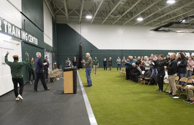 Frederick P. Baker at the ceremony for the unveiling of the newly renovated Frederick P. Baker Training Center