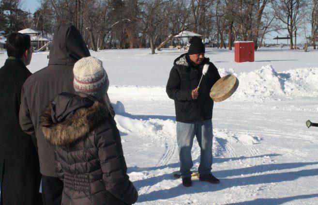 Don Kingbird performing traditional Ojibwe honor song.
