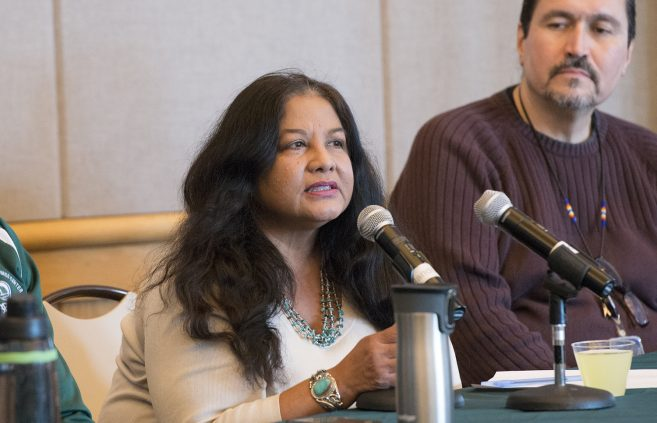 Dr. Cornelia Santos speaking at the Native American Health panel discussion.
