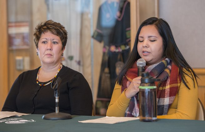 Student Cindy Wilson speaking at the Native American Health panel discussion.
