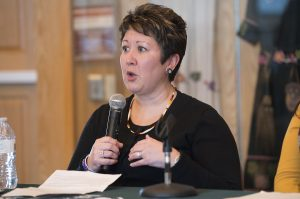 Dr. Misty Wilkie speaking at the Native American Health panel discussion.