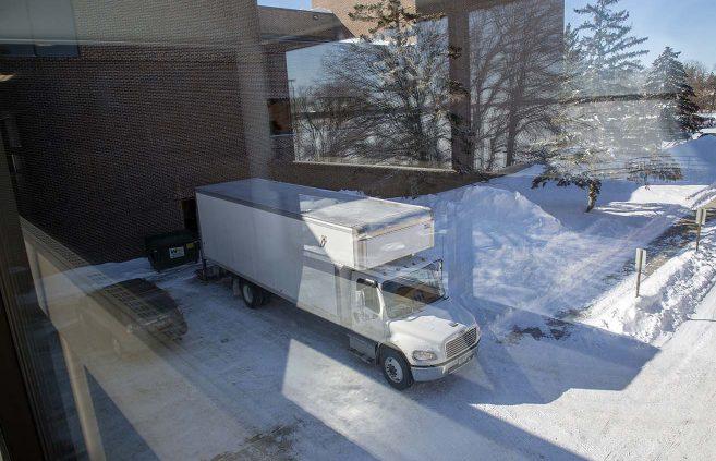 Truck delivering BSU's new Steinway Model B from Schmitt Music in Minneapolis.