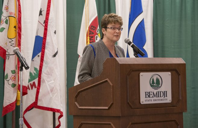 Dr. Faith C. Hensrud, president of BSU and NTC, spoke during the event.