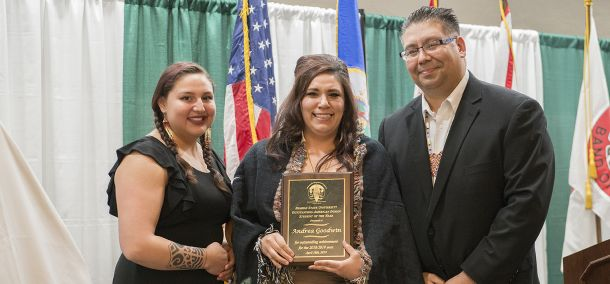 Andrea Goodwin, a senior from Red Lake, Minn. studying social work, was named the Outstanding American Indian Student of the Year.