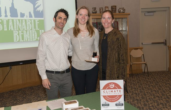 Aili Kultala, a senior employed by the Sustainability Office, pictured with Jordan Lutz, sustainability project manager, and Erika Bailey-Johnson, sustainability coordinator.
