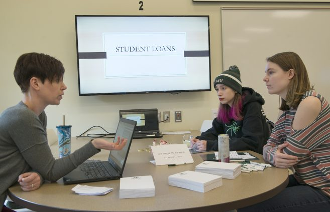 Representatives from BSU's Department of Financial Ad offered student loan Q&A services.