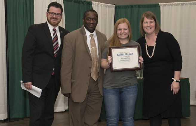 Kallie Hoplin received this year's Outstanding Student Leader Award.