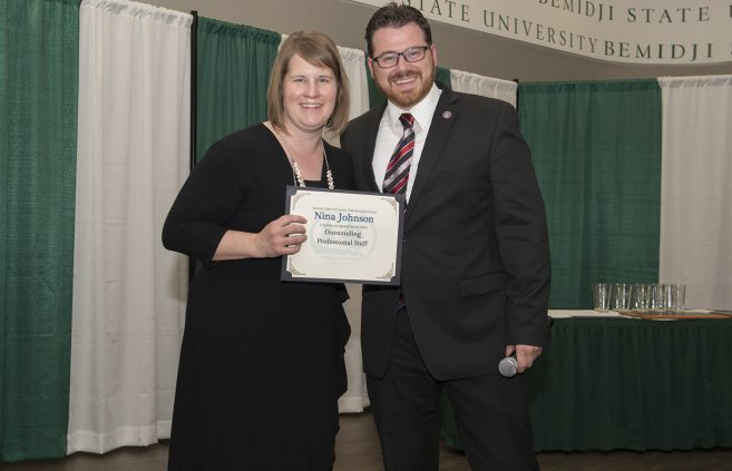Nina Johnson, director of the Hobson Memorial Union, was recognized as 2019's Outstanding Professional Staff.