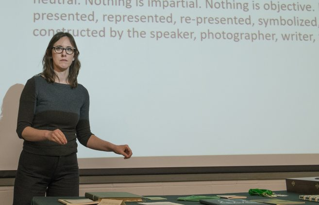 Colleen Deel presenting the final lecture in the BSU Honors Council series.