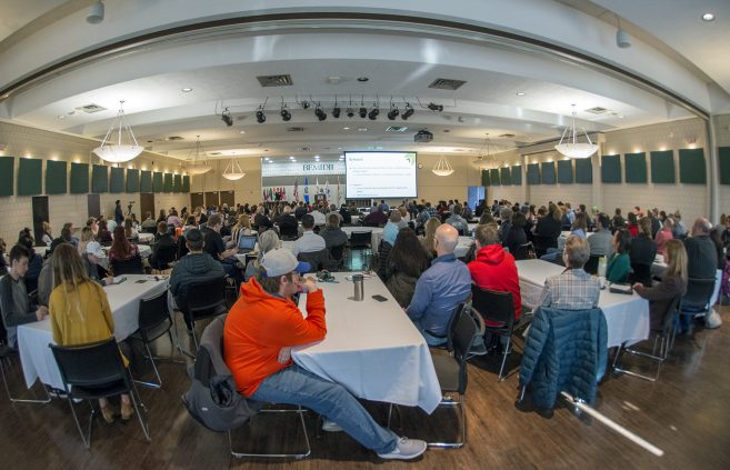Students, faculty and staff filled the Beaux Arts Ballroom for the 20th annual Student Achievement Conference at BSU.
