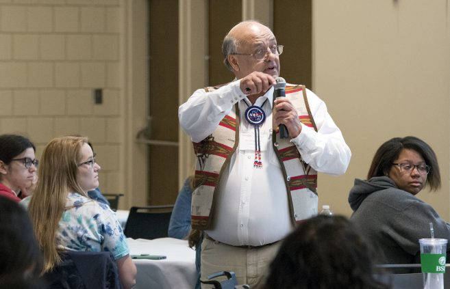 Ed Galindo, keynote speaker, spoke about his rich history of conducting research with Native American students and shared his best practices with students, faculty and staff.