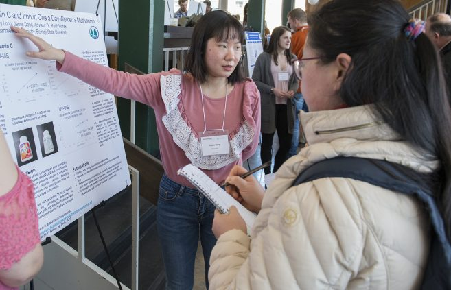 """Determination of Vitamin C and Iron in One a Day Women's Multivitamin"" poster by Xiajun Deng and Emily Long."