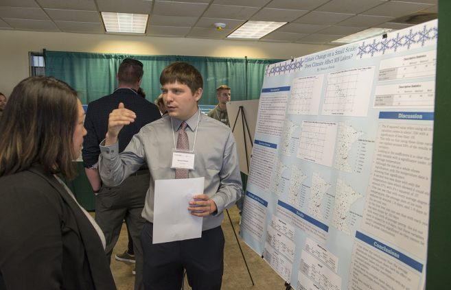 """Climate Change on a Small Scale: Does Climate Affect MN Lakes?"" poster presentation by Samuel Potrin."