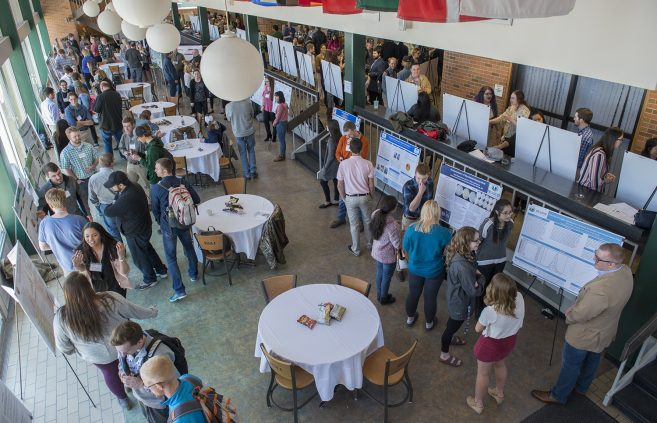 Student poster presentations filled Lakeside in the HMU's Lower Union.