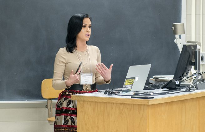 Serena Graves recently shared her knowledge of the Ojibwe language with others at the university's 20th Annual Student Achievement Conference.