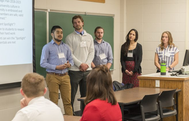President Student Commissioners Jared Henning, Timothy Nelson, Tia Neuharth, Donelle Omer and Rupesh Thapa proposed an idea to shine a spotlight on student achievements to boost student retention at BSU.