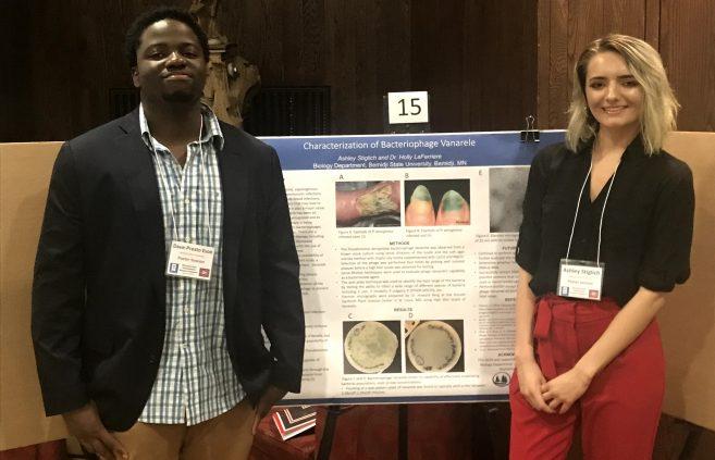 BSU students Dave-Preston Esoe and Ashley Stiglich at the Minnesota State Undergraduate Scholars Conference.