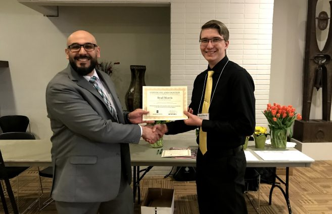 Dr. Mahmoud Al-Odeh, associate professor of technology, art and design and conference director and Brad Morris, BSU student at the Minnesota State Undergraduate Scholars Conference.