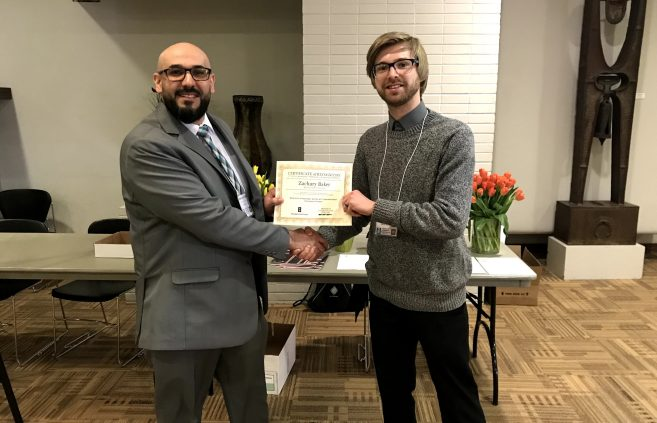 Dr. Mahmoud Al-Odeh, associate professor of technology, art and design and conference director and Zachary Baker, BSU student at the Minnesota State Undergraduate Scholars Conference.