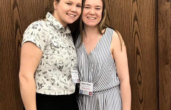 BSU Students Mattie Osborn (left) and Nikki Shaw (Right) at the Minnesota State Undergraduate Scholars Conference.