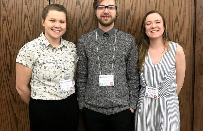 Bemidji State students Mattie Osborn, Zachary Baker and Nikki Shaw at the Minnesota State Undergraduate Scholars Conference.