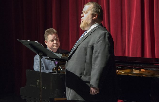 Dr. Renbarger performing at the Steinway reception.