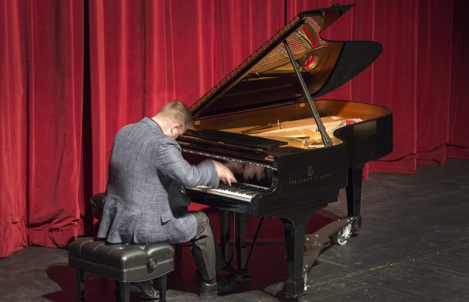 Dr. Stephen Carlson, professor of music and chair of the Department of Music, at the Steinway reception.