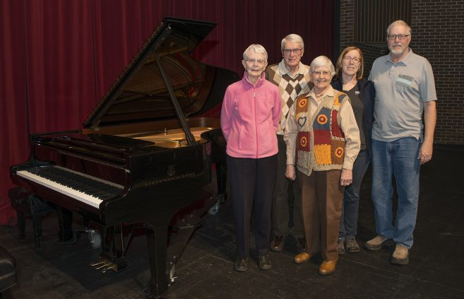 The family of the generous donors of the Steinway. Left to right: Gladys Nicol '78, David Vogel, Joyce Vogel, Annette Therox '94 and Gary Theroux. Thank you!