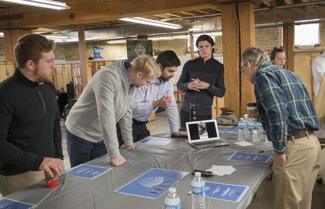 Bemidji State University marketing students presenting their original projects to local entrepreneurs.