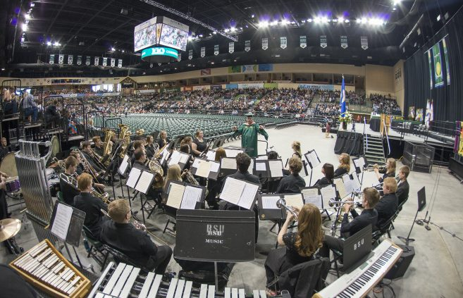 The BSU band played as graduates filled the Sanford Center.