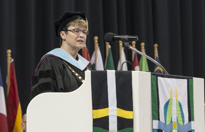 President Faith C. Hesrud congratulated graduates during the ceremony.