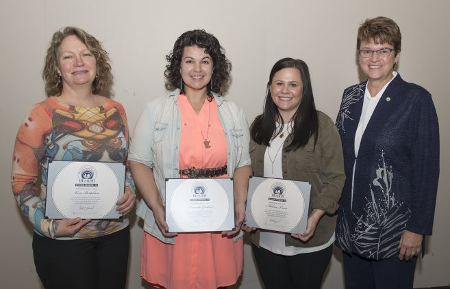 Student Center for Health and Counseling counselors, Lora Bertelsen, Amanda Gartner and Melissa Truax, received the Outstanding Contribution Award (team).